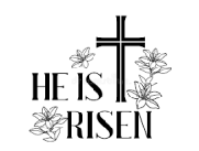 A cross with the text He is risen